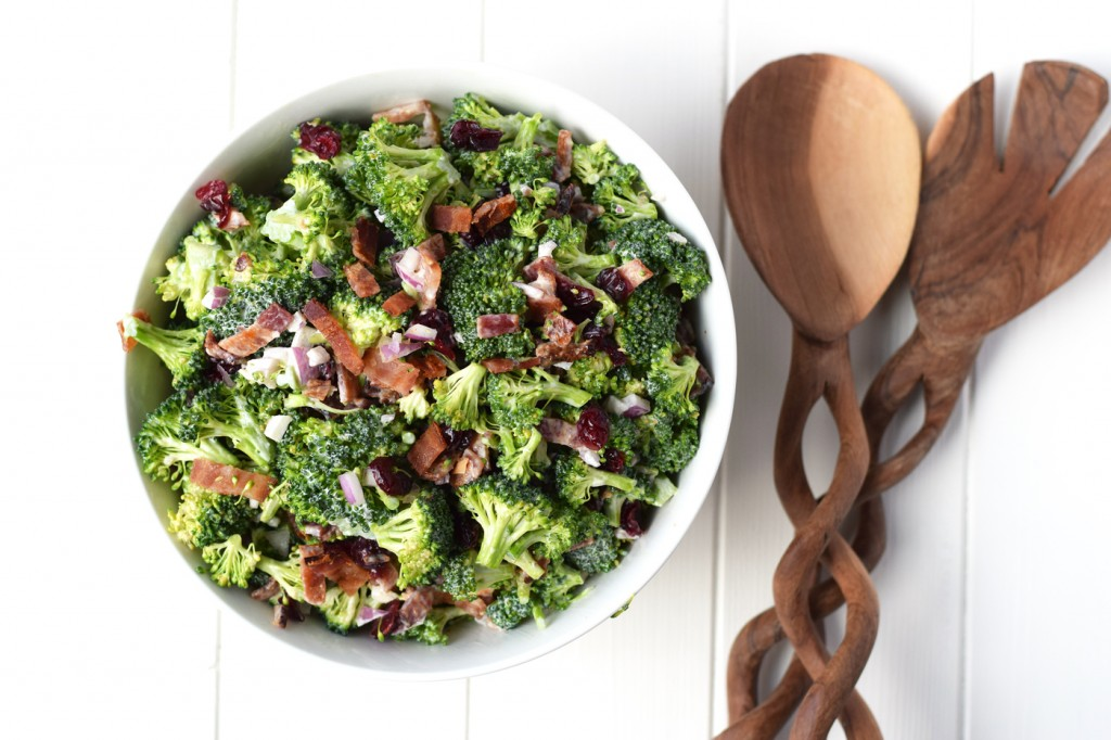 Lightened Broccoli Salad - Your favorite broccoli salad recipe made healthy with greek yogurt and no refined sugar. The perfect fresh, healthy side dish!