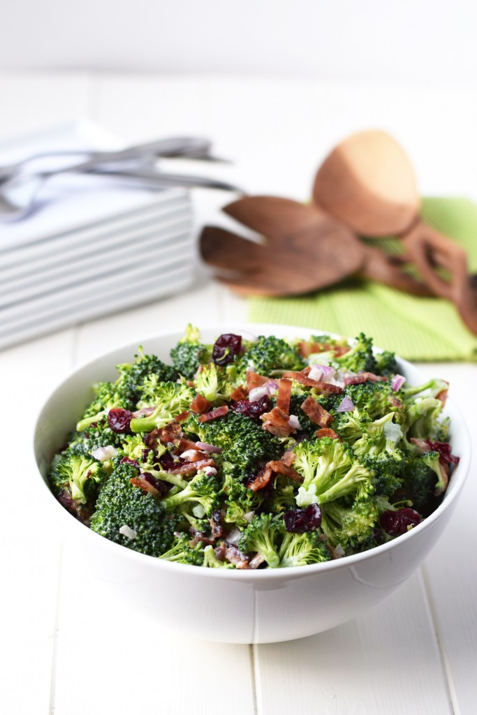Lightened Broccoli Salad - Your favorite broccoli salad recipe made healthy with greek yogurt and no refined sugar.