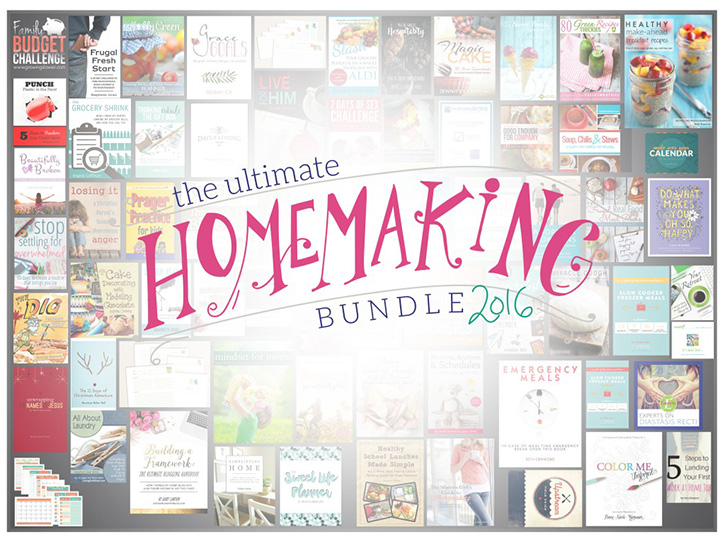 The Ultimate Homemaking Bundle - over 90 eBooks, eCourses and practical printables filled with useful tips and tricks on homemaking... for moms by moms!