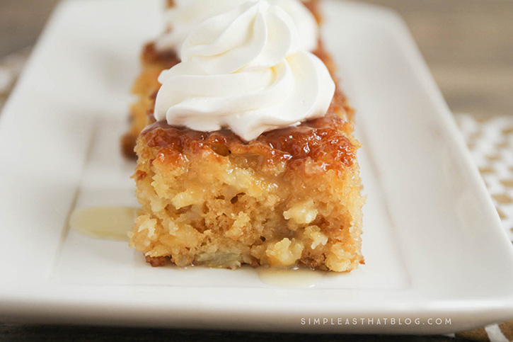 This made from scratch Pineapple Poke Cake is as easy as using a mix and it turns out spongey, moist and delicious every time! It's all the flavors of pineapple upside down cake, made simple and it's sure to be a crowd pleaser!