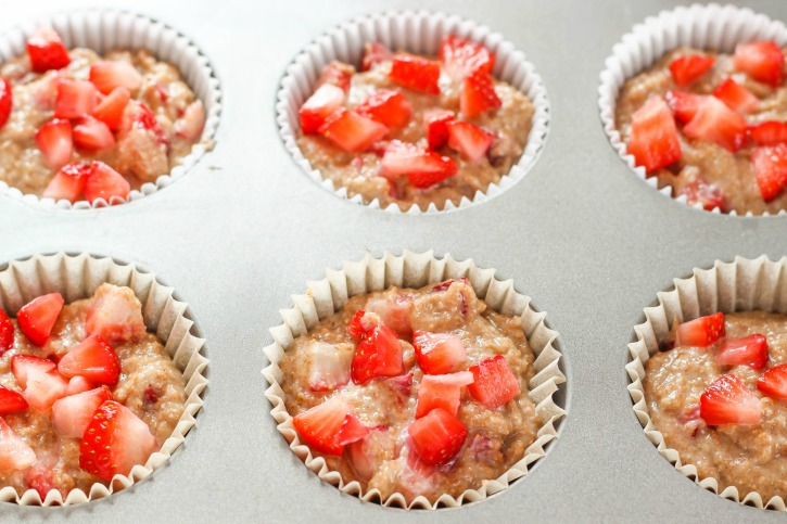 Whole Wheat Strawberry Muffins - delicious muffin recipe made with whole wheat flour and fresh strawberries.  Perfect for breakfast or snacks!