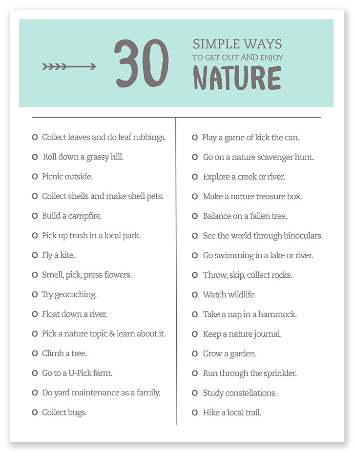 Get out and enjoy nature with your kids this Summer with this printable list!