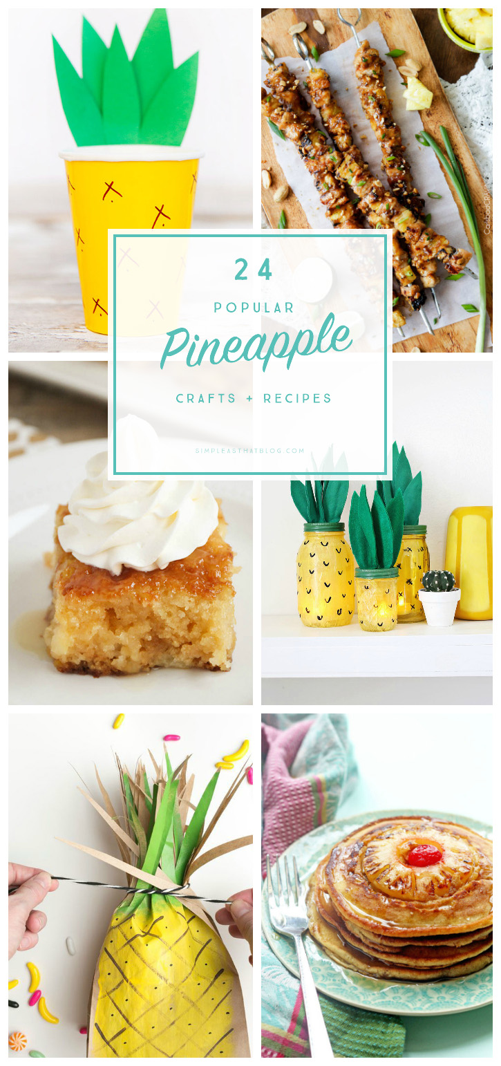 Pineapples are so fun to use in design and in recipes - they add just the right tropical flair to any project. Check out this list of popular pineapple DIY's and recipes!