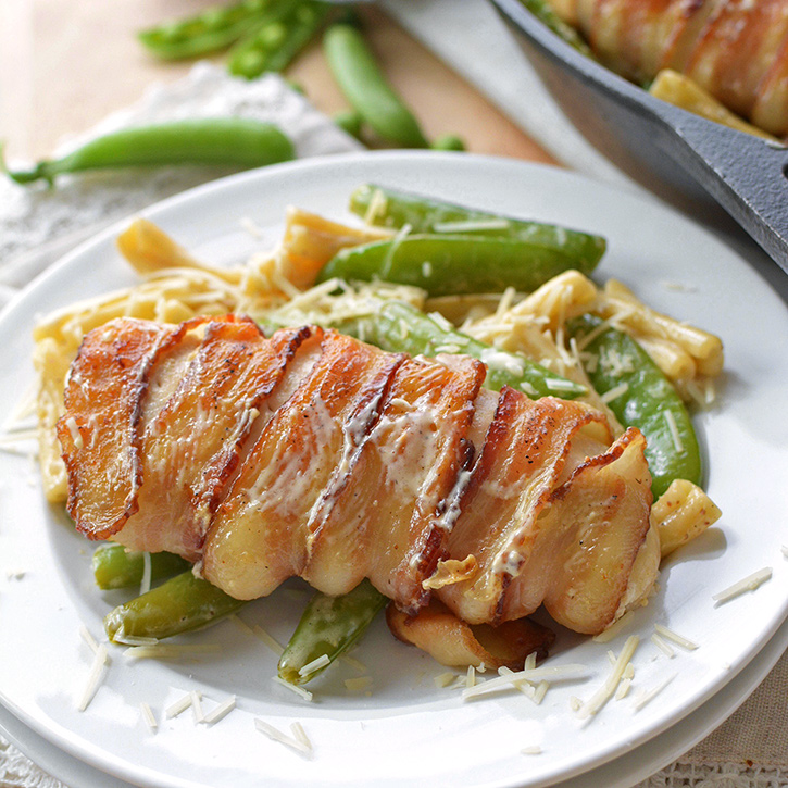 One-Pot Bacon Wrapped Chicken with Sugar Snap Peas and Pasta