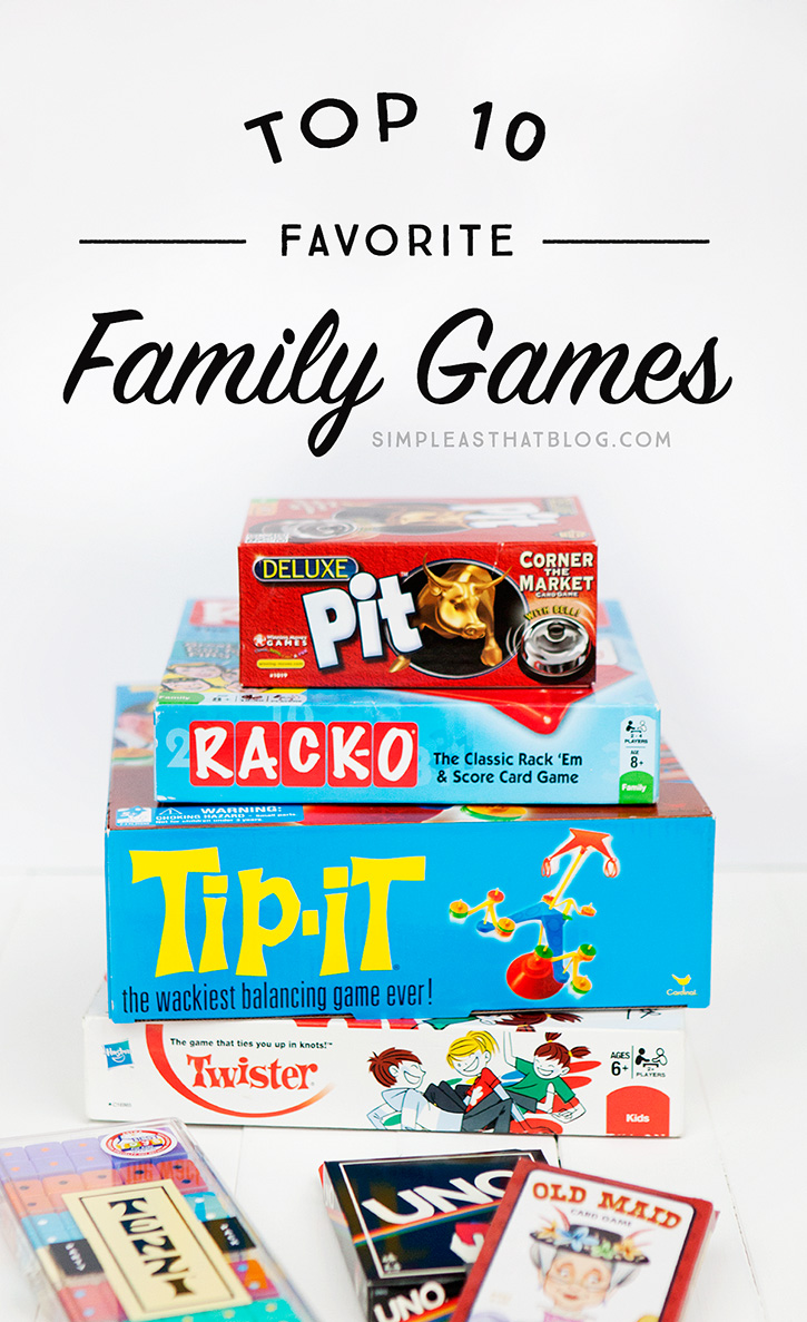 We love playing games together as a family. Card games, board games, dice games – you name it! This is our list of top ten favorites for the whole family to enjoy.