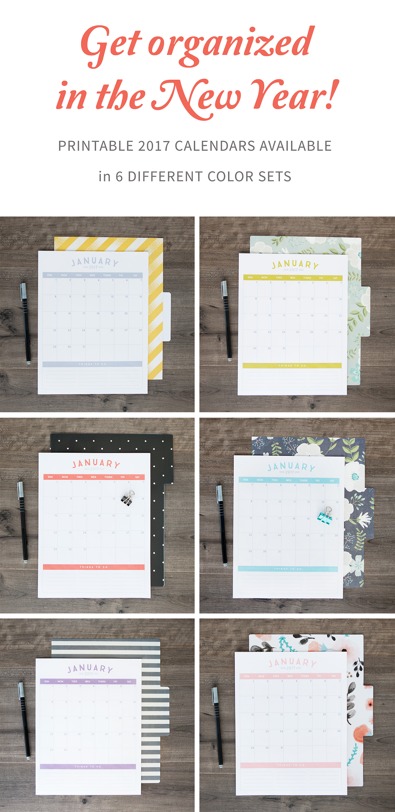 2017 Printable Calendars – available in 6 gorgeous colors!