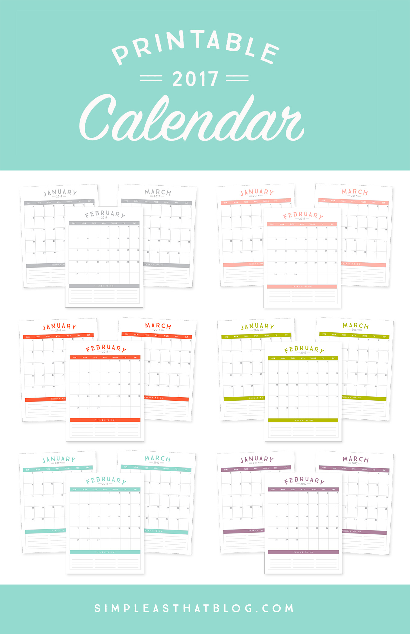 Get organized in the New Year with these 2017 Printable Calendars – available in 6 gorgeous colors!