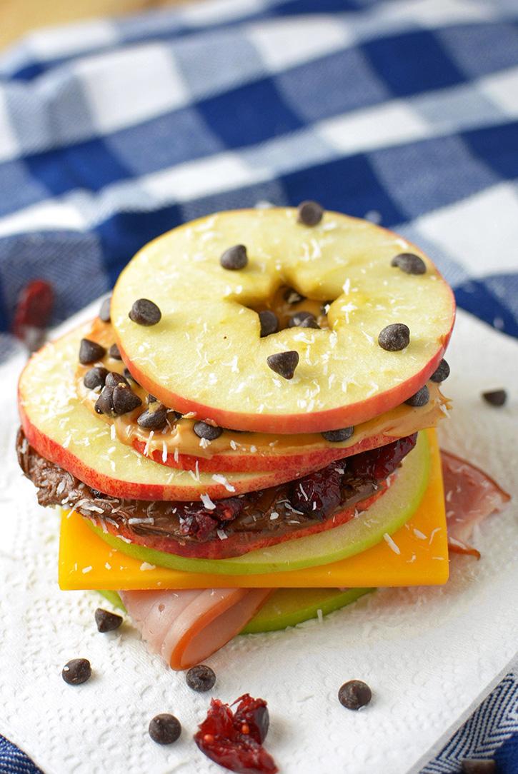 Apple Slice Snack Sandwiches Three Ways