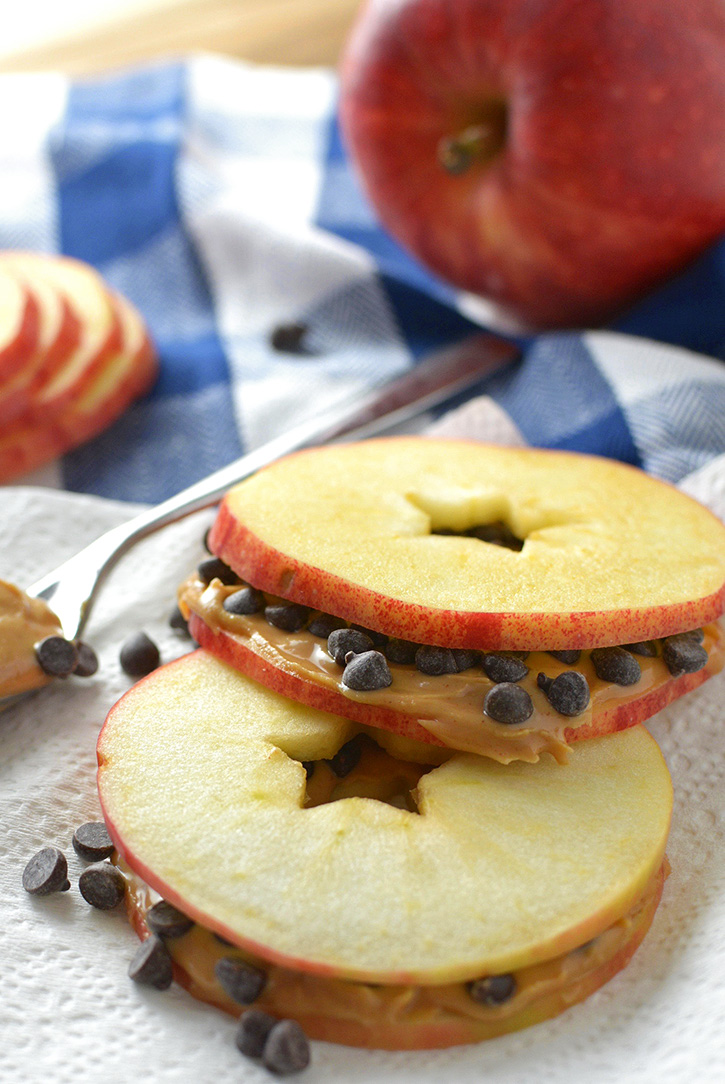 Peanut Butter Chocolate Chip Apple Slice Snack Sandwiches