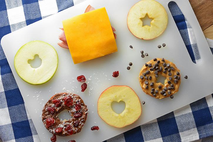 Assembling Apple Slice Snack Sandwiches
