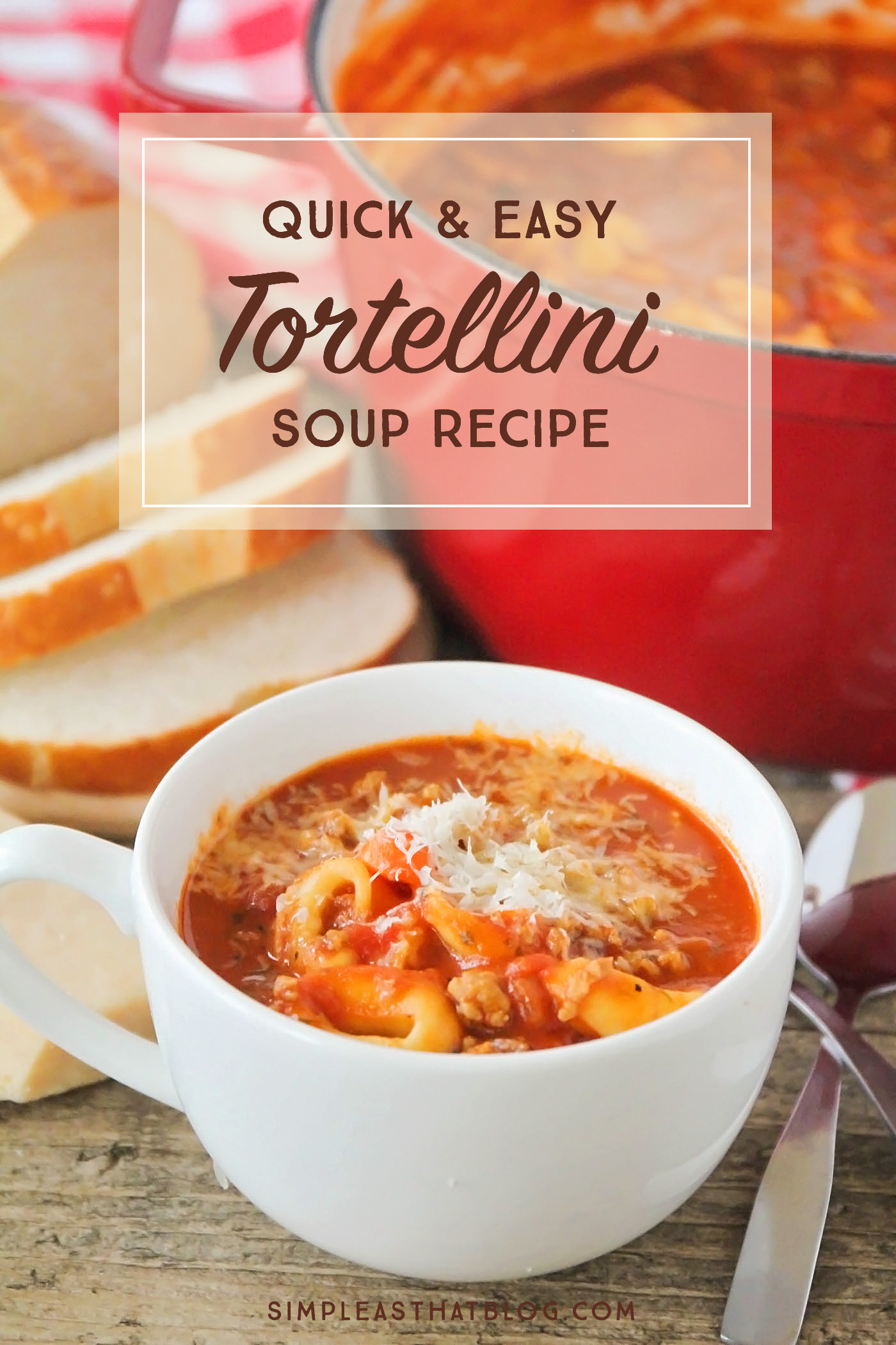 If you're short on time and looking for a warm, hearty meal to serve your family this week, you need to try this Quick and Easy Tomato Tortellini Soup Recipe!