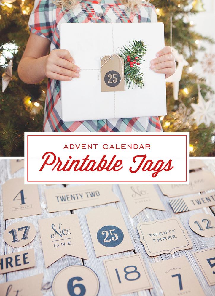 Free Printable Advent Calendar or Christmas Countdown Tags
