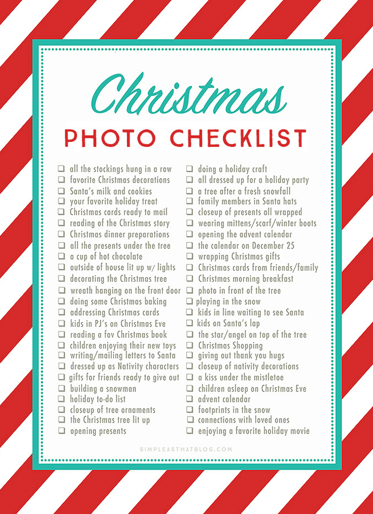 Free Christmas Photos Checklist
