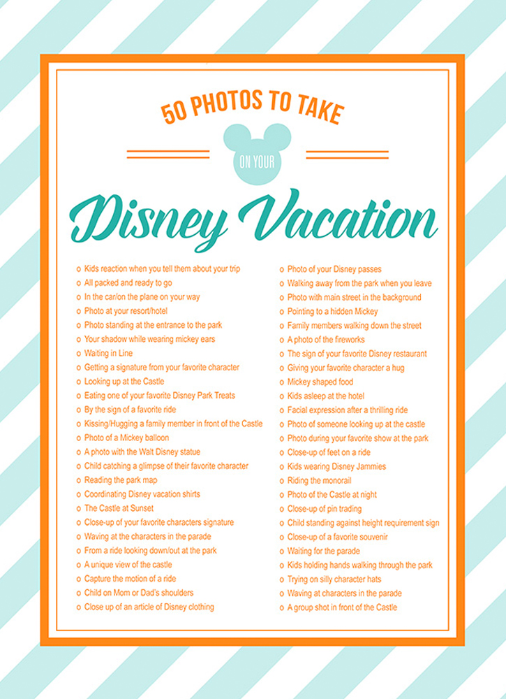 Free Disney Photos Checklist