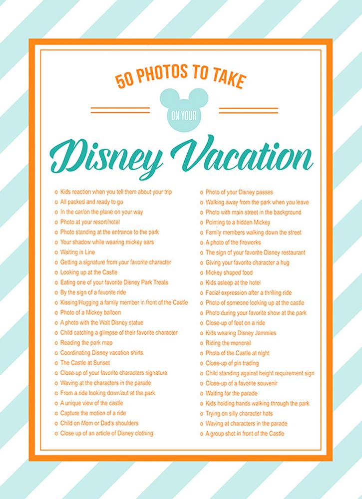 Free Disney Photos Checklist