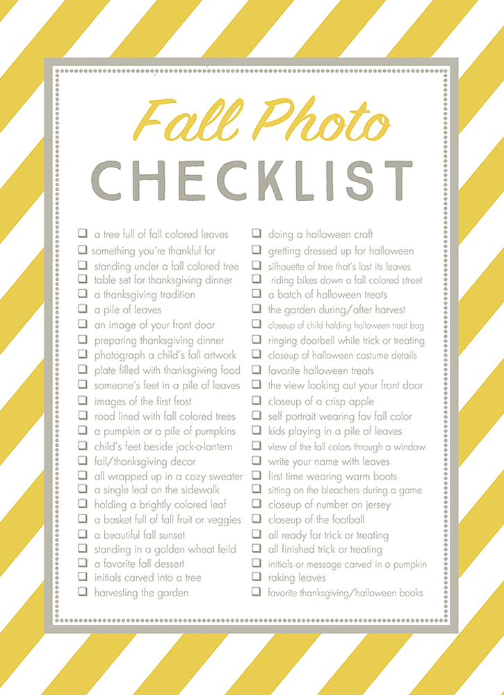 Free Fall Photos Checklist