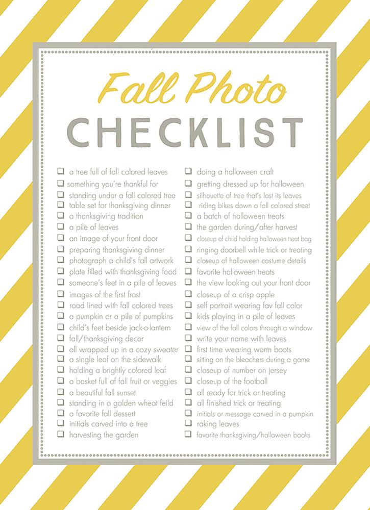 Free Fall Photos Checklist