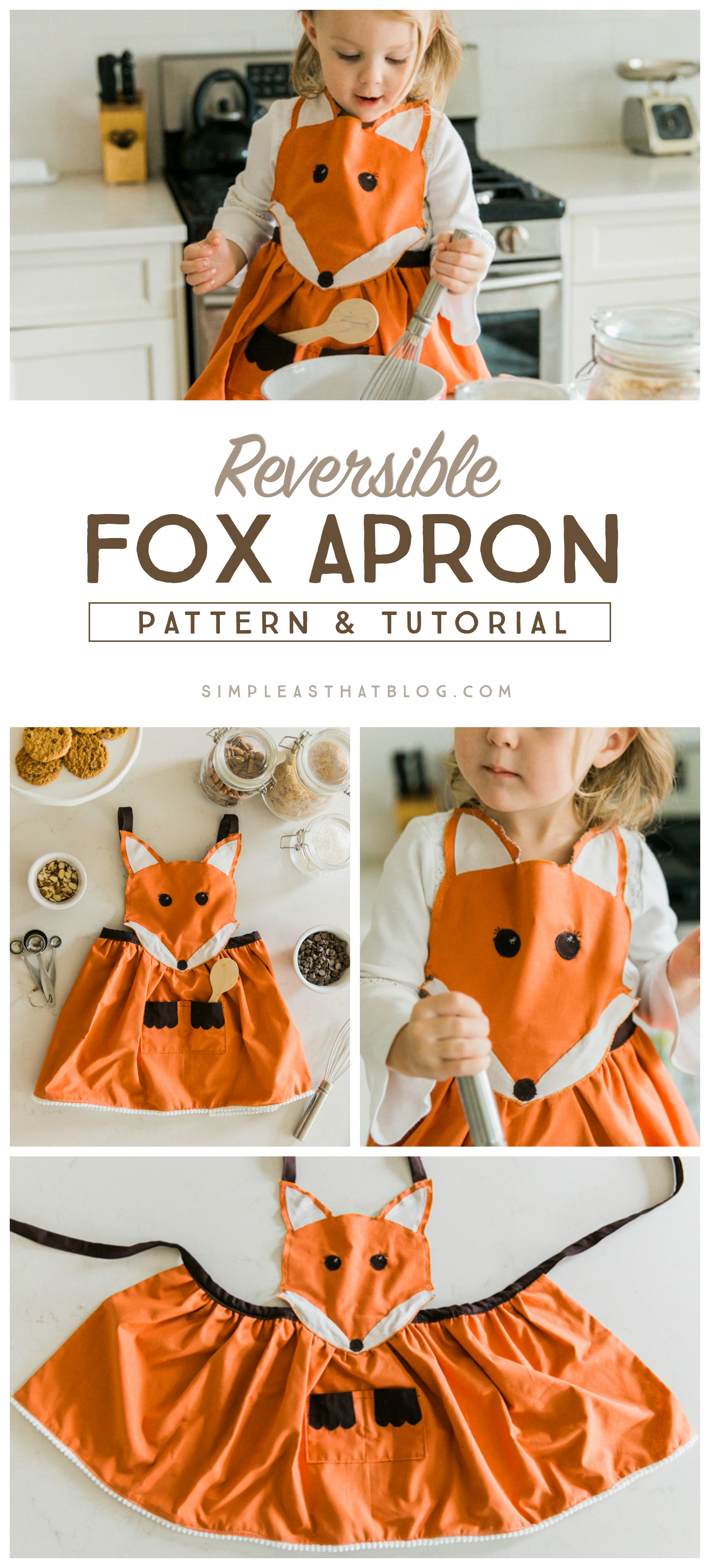 FREE pattern and instructions to make this adorable Fox Apron.