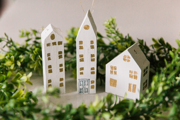 DIY House Ornaments in White and Gold