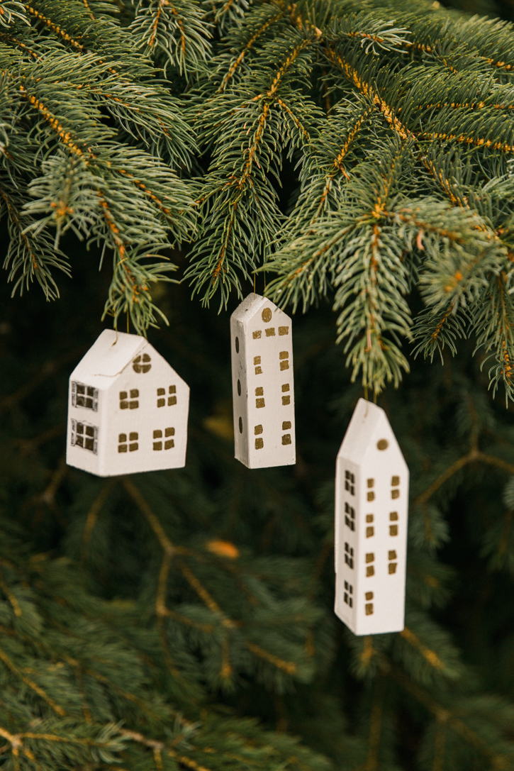DIY White and Gold Wooden House Ornaments