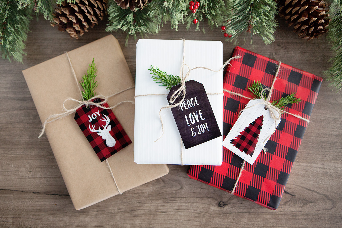 add a little rustic outdoorsy flair to your holiday decor and gift wrapping with these