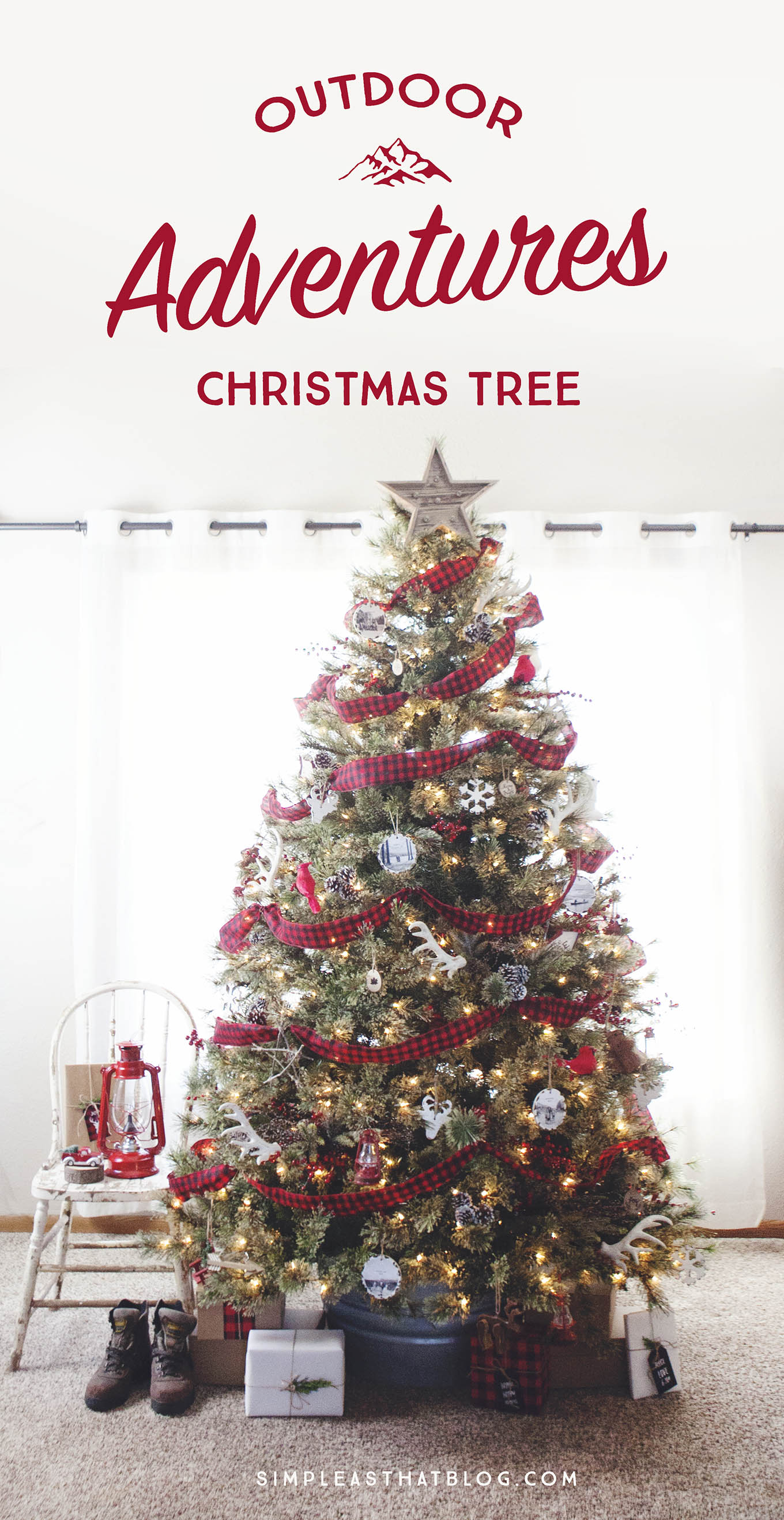 What story is your Christmas tree telling? Check out this adventure-themed Christmas tree, which reflects this family's love for each other and the great outdoors!