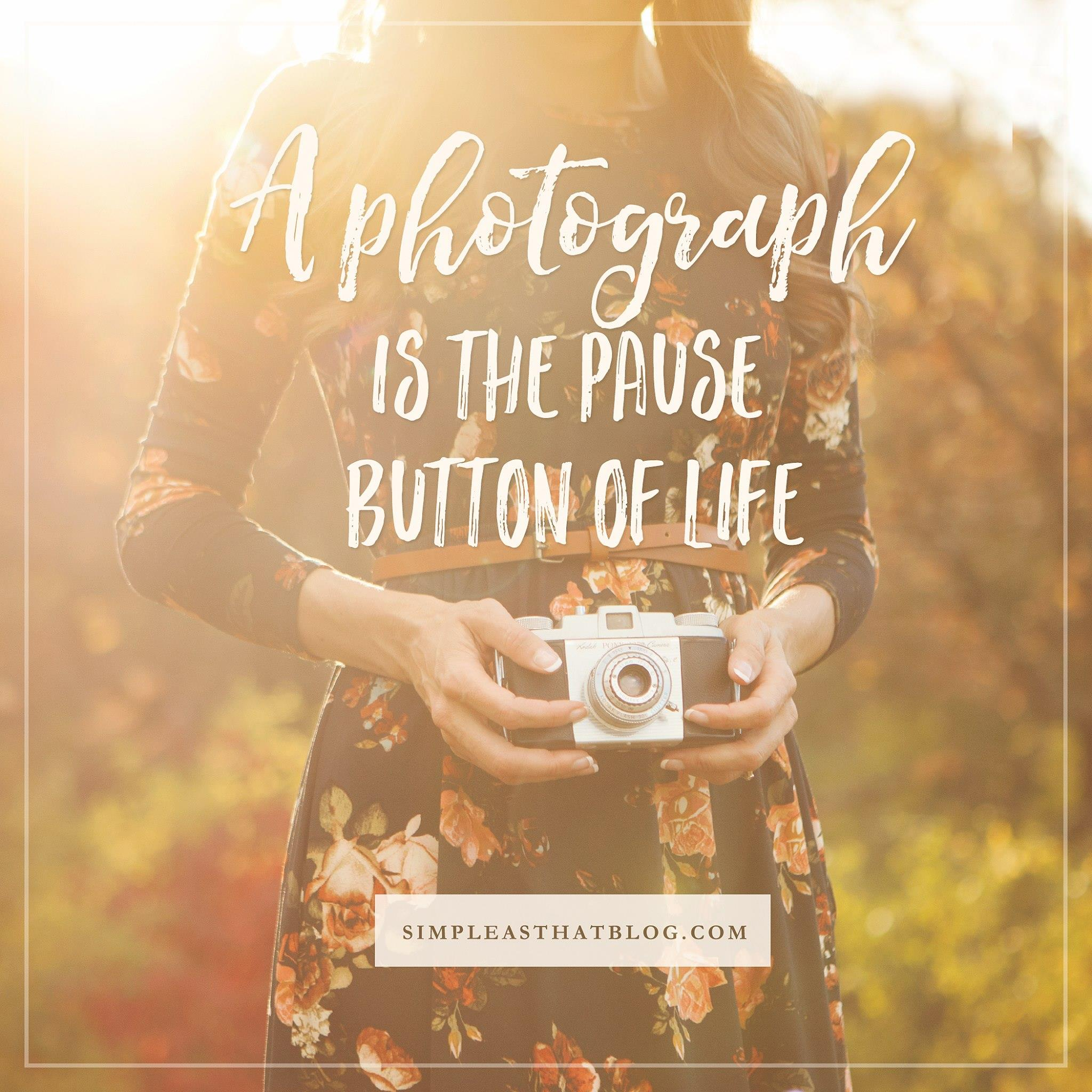 12 Quotes to Inspire your Photography Journey // A photography is the pause button of life. - unknown