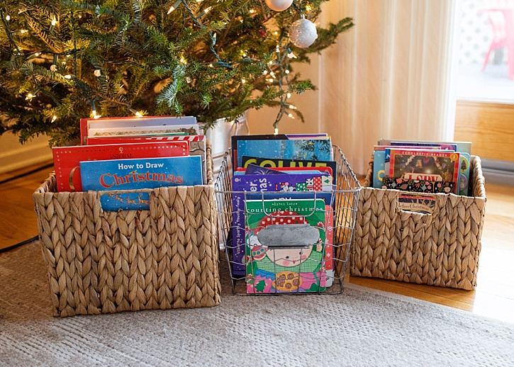 Image result for Christmas baskets with books
