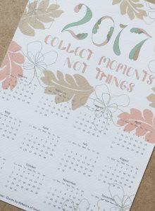 Hand-lettered 2017 printable calendar