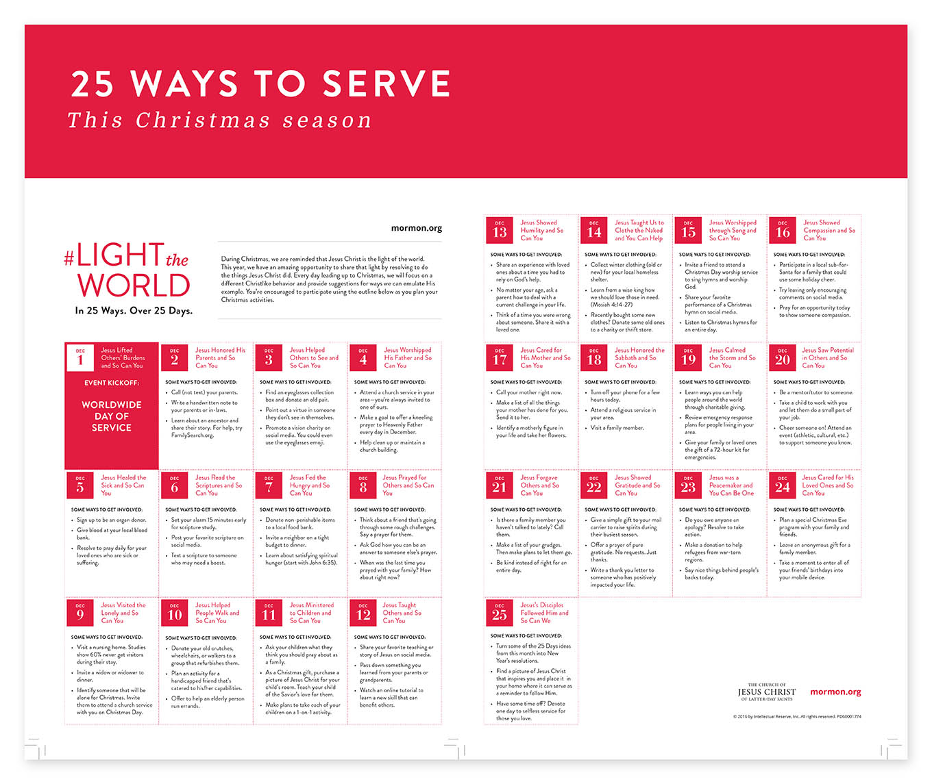The holidays never feel warmer or more satisfying than when we're giving of ourselves. Join myself and thousands of others as we #LighttheWorld with 25 simple ways to Serve this Christmas Season.