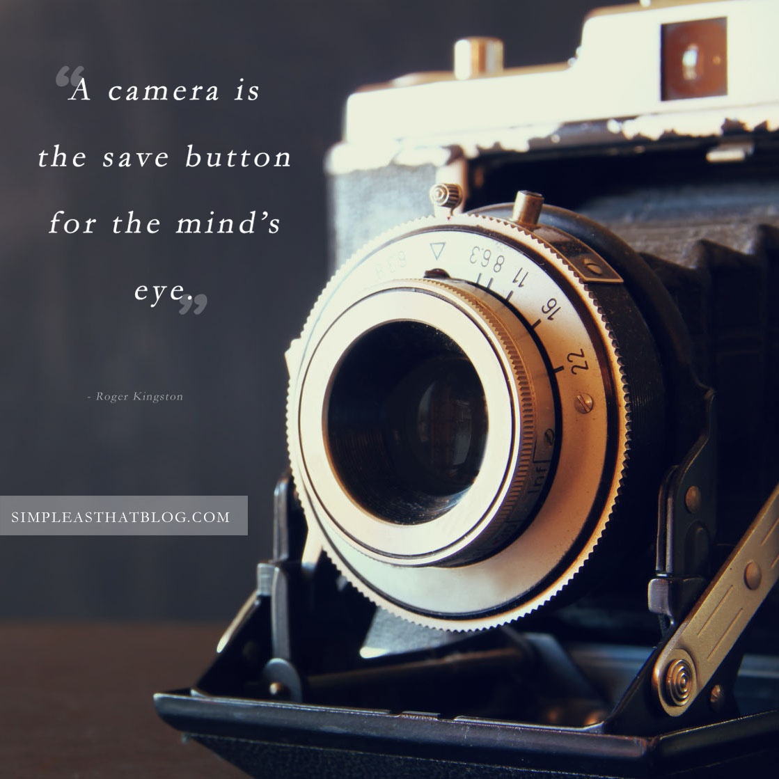 12 Quotes to Inspire your Photography Journey // A camera is the save button for the mind's eye. - Roger Kinston