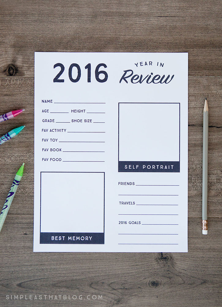 Free 2016 Year in Review Printable