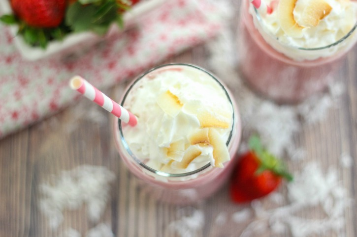 Skinny Strawberry and Coconut Frappe is a delicious and refreshing, non-caffeinated drink that is made with strawberries and coconut.
