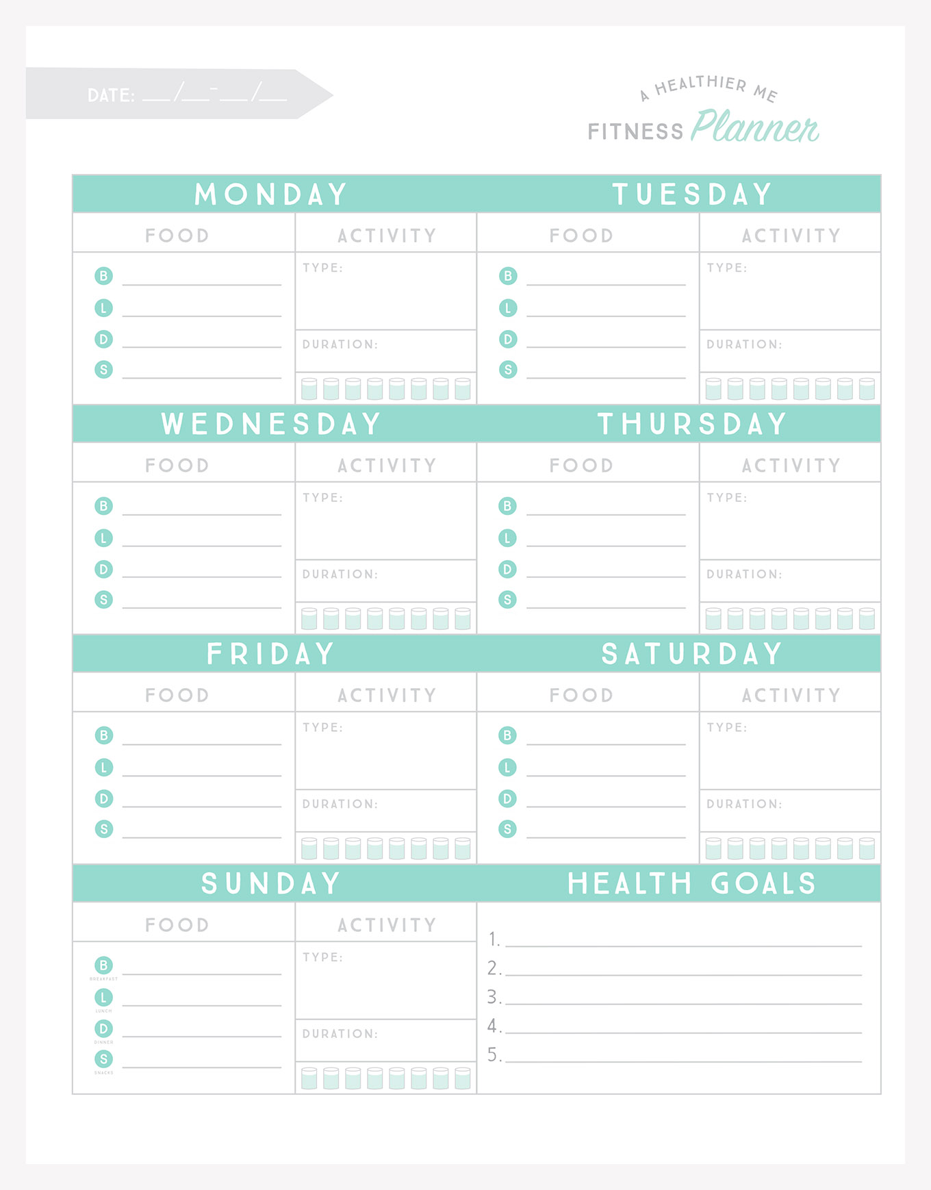picture regarding Fitness Planner Printable named Free of charge Printable Health and fitness Planner