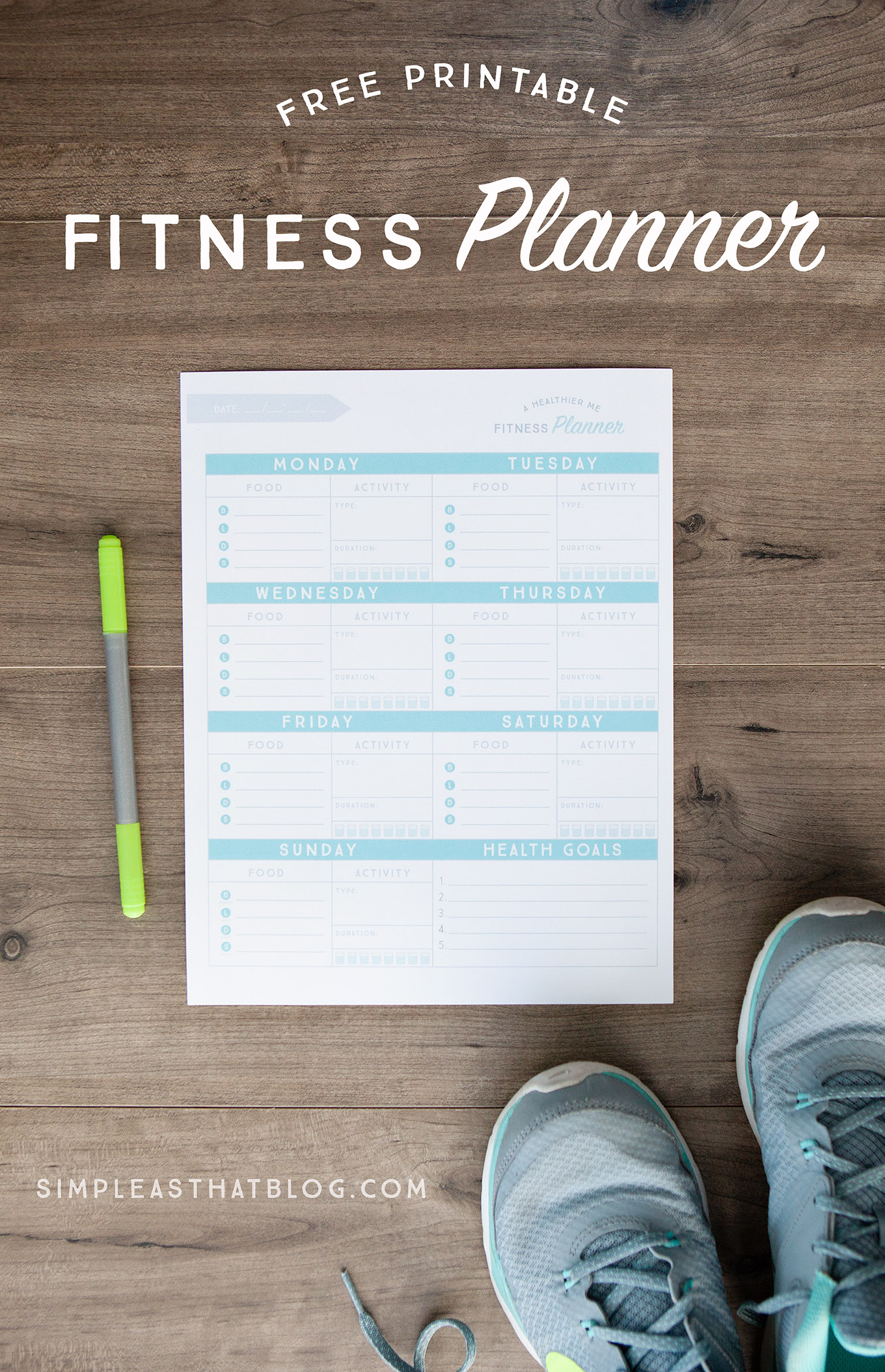 "Set yourself up for success and become a healthier ""you"" with this free printable fitness planner."