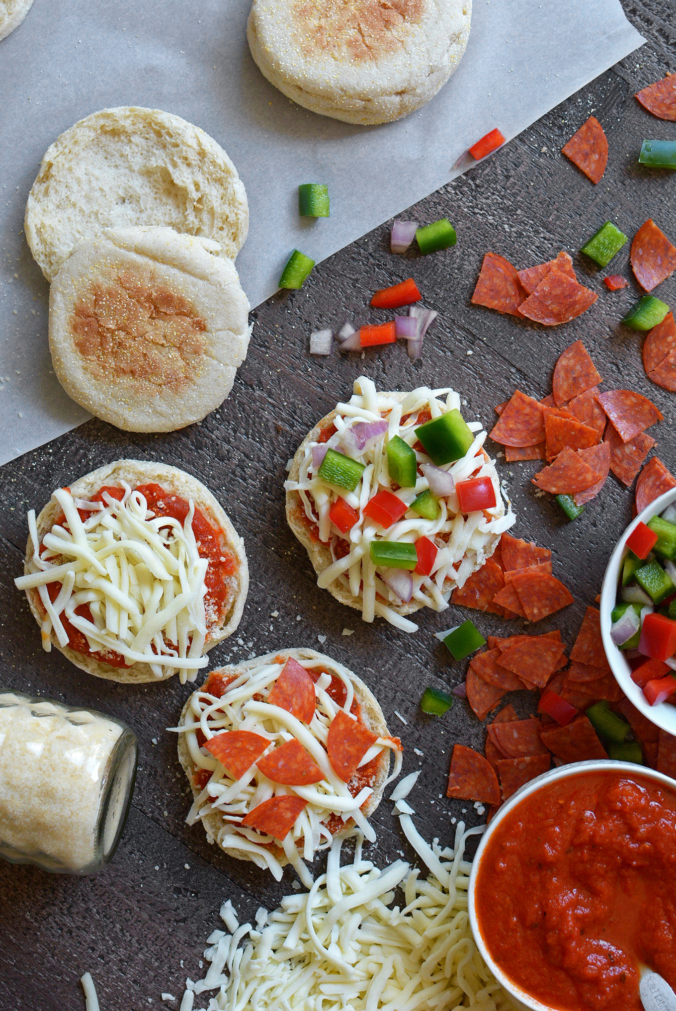 Making English Muffin Mini Pizzas