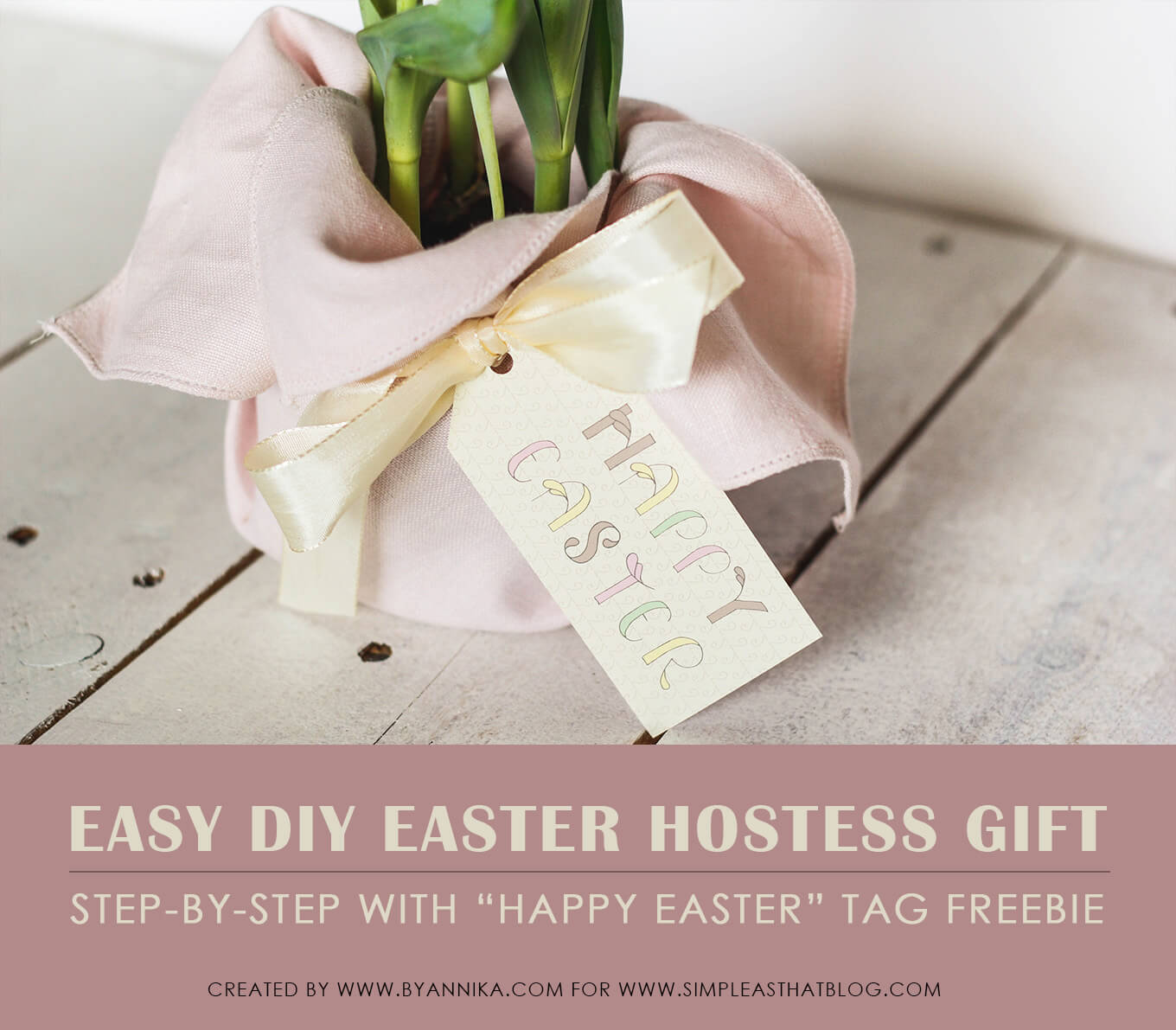 How to create a super quick last minute easter hostess gift this little gift consists basically of dressing up a flower in a pot with some fabric and adding a cute tag but one of the criteria for being able to negle