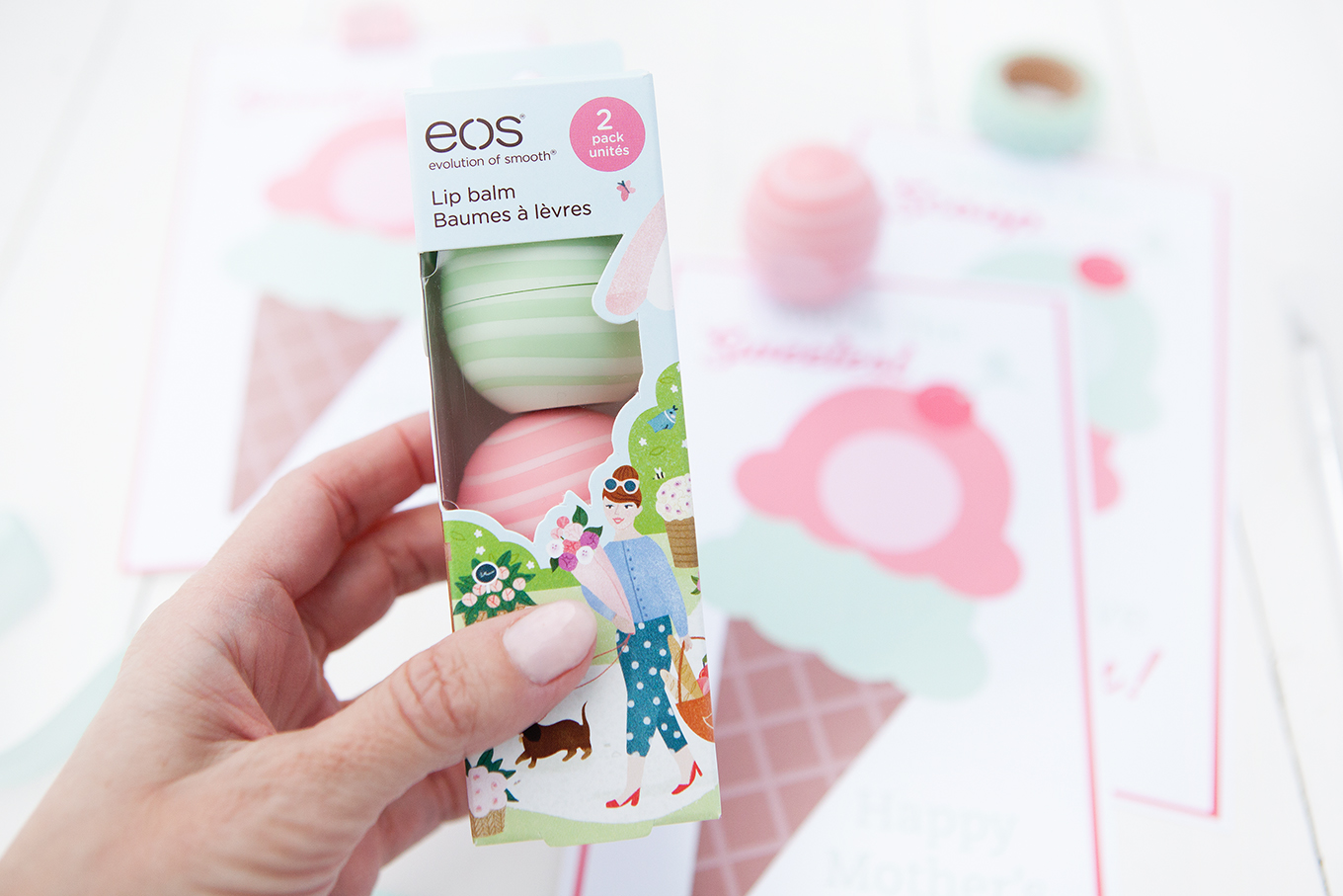 Mother's Day will be here before you know it – celebrate the special mom in your life with a simple card and her favorite EOS lip balm!