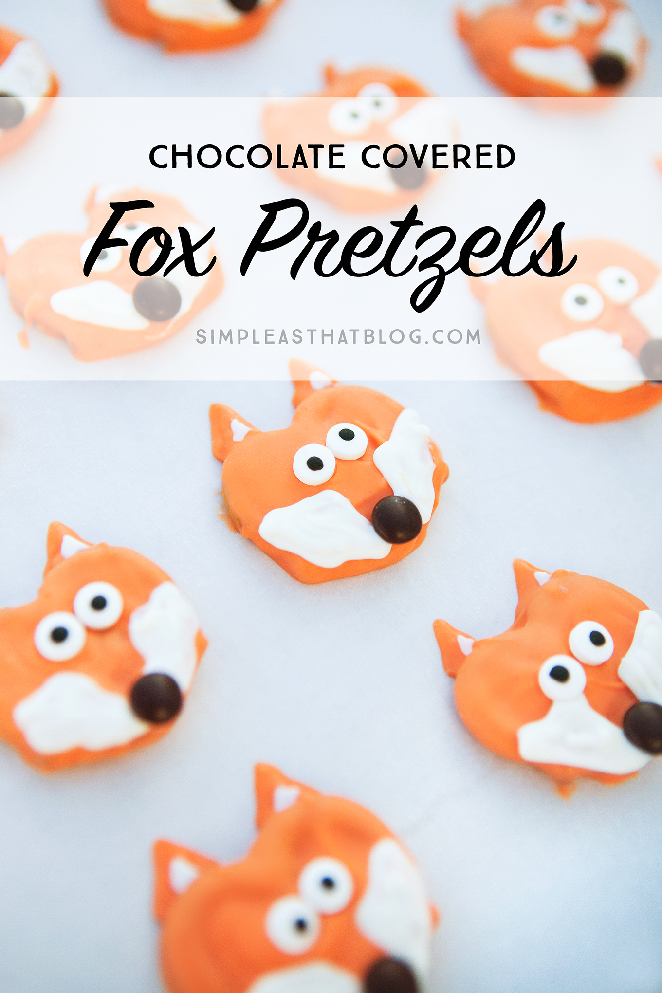 The cutest little chocolate covered fox pretzels. A delicious fall treat that can be made in just a few minutes!