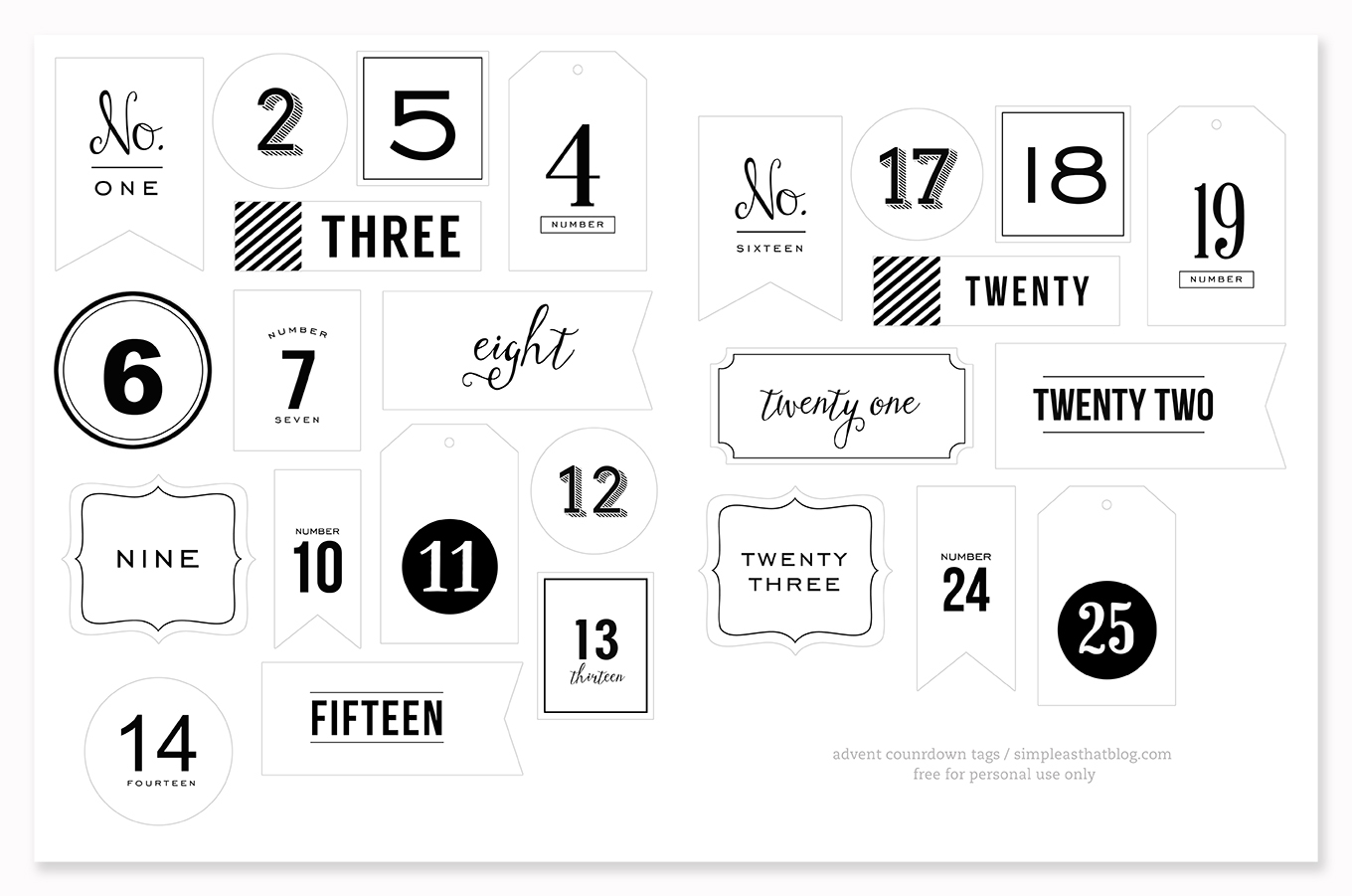Black Advent Countdown Tags