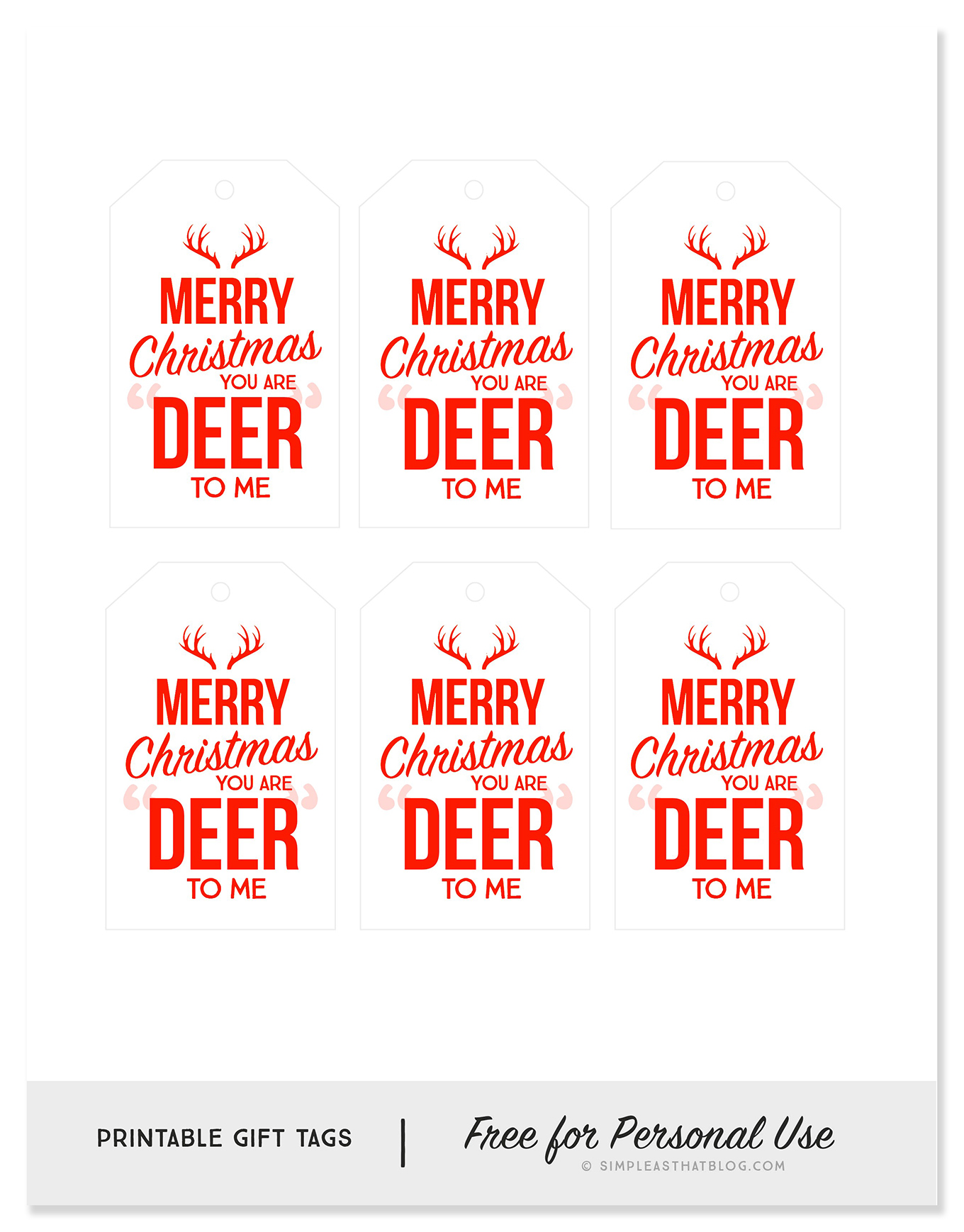 image about Printable Deer Pictures identify Oneself are DEER towards me Printable Present Tags - Basic as That