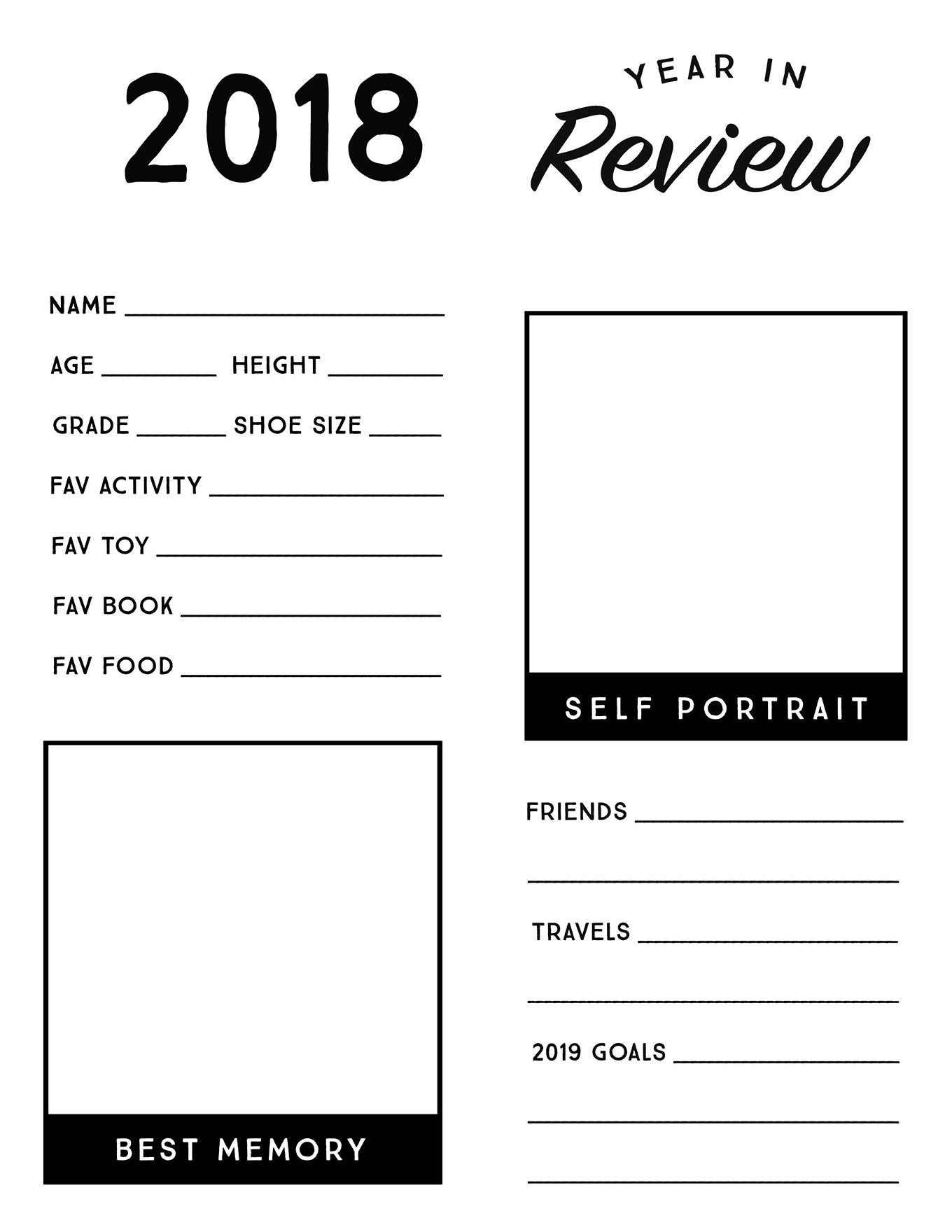 This free printable year in review sheet gives children a chance to reflect on their favorite memories from the past year and look ahead to new goals and adventures in 2019!