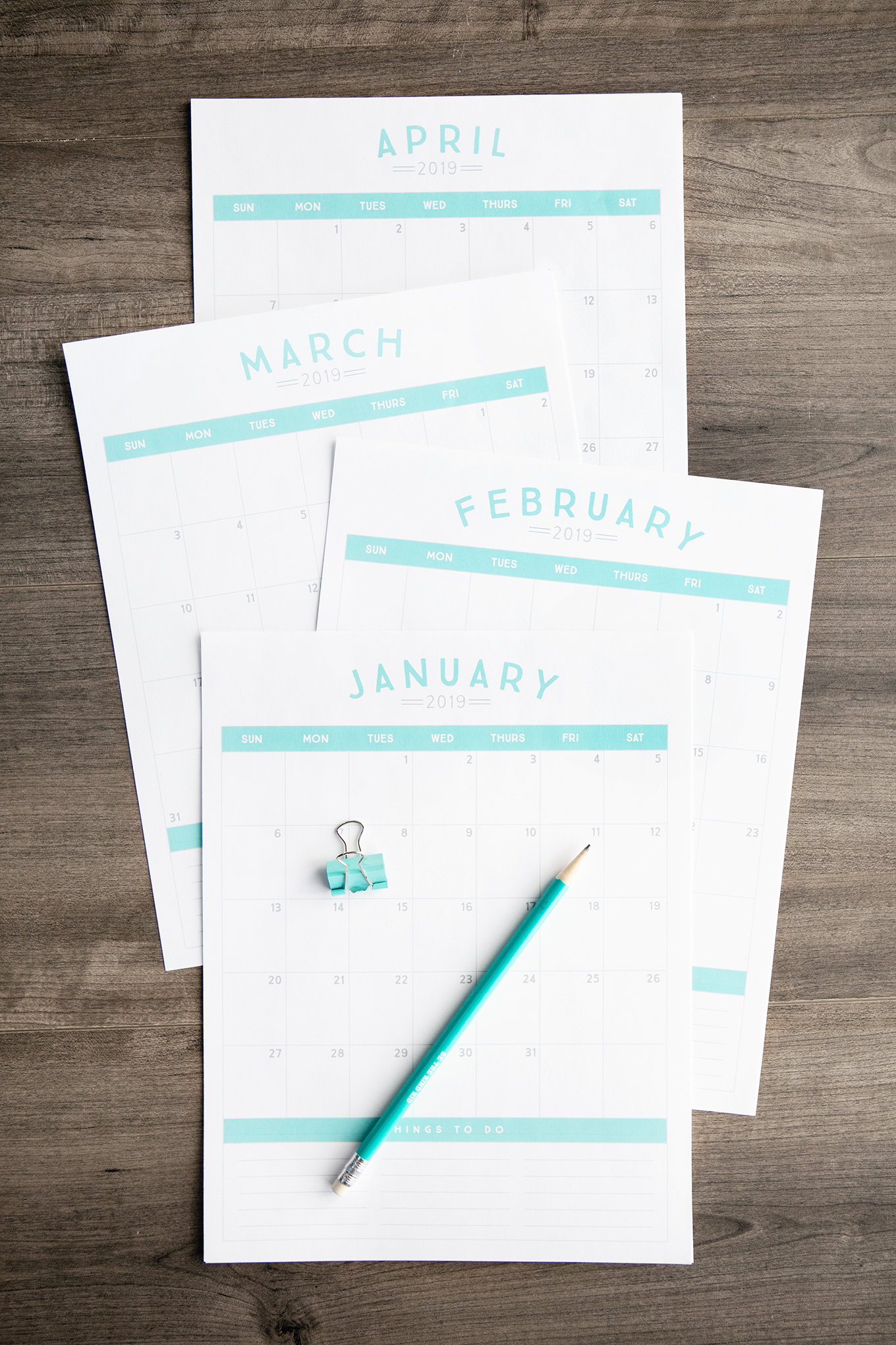 Get organized in the new year with a brand new 2019 printable calendar!