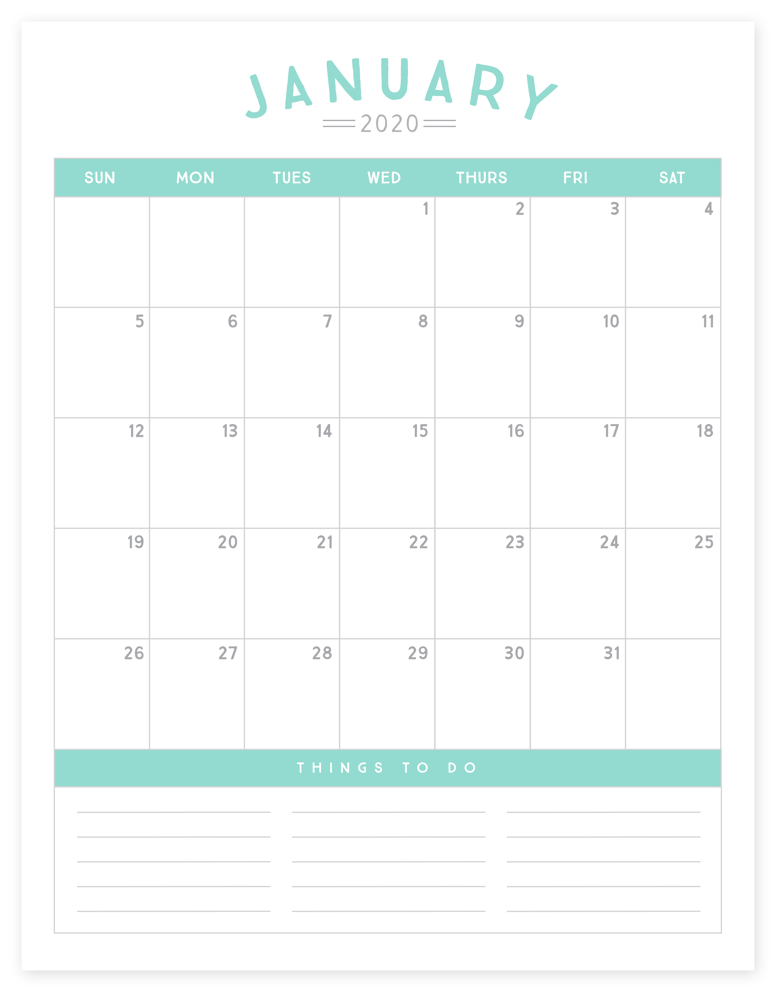 It is a photo of Universal 2020 Printable Calender