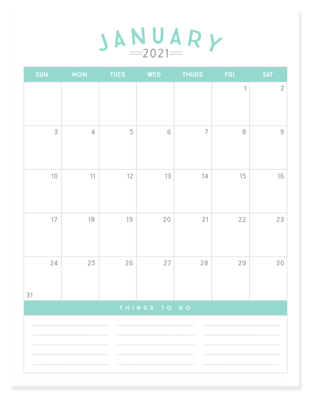 Kick off 2021 with a fresh start and a cute new calendar! This set of 12-month calendars are simple, stream-lined and the perfect planning toolto help you get organized inthe new year. Click the link below to download our free printable 2021 calendar!