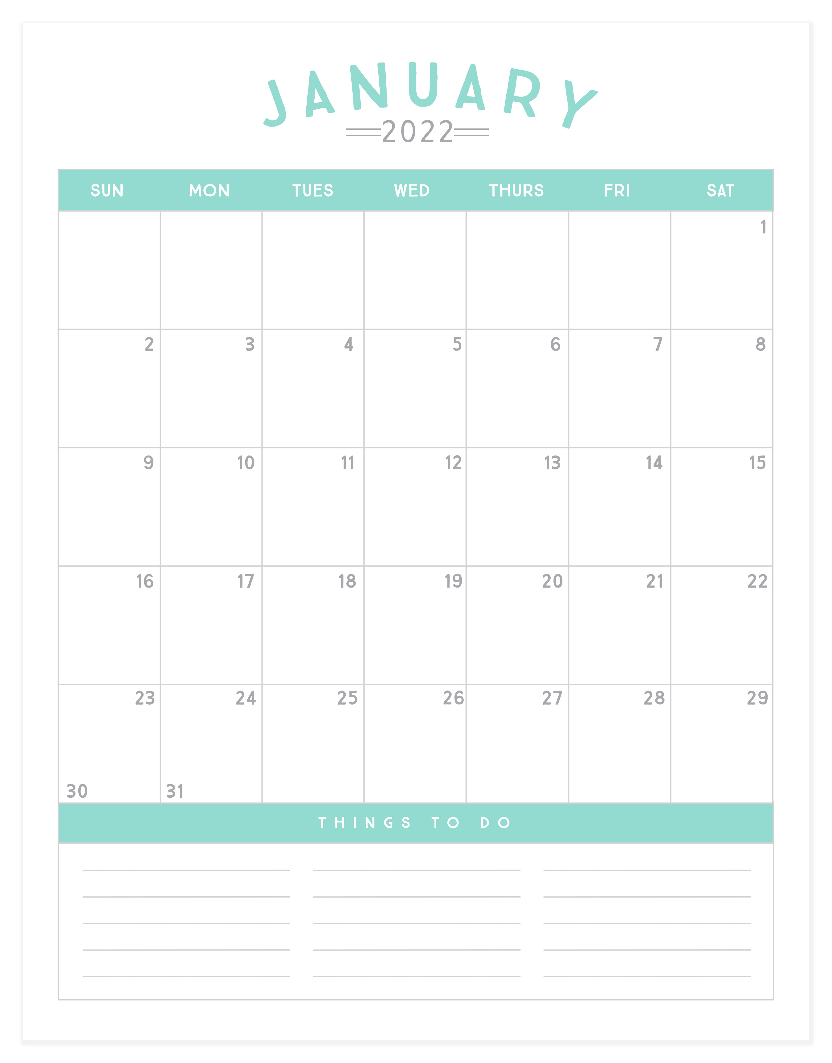 Kick off 2022 with a fresh start and a cute new calendar! This set of 12-month calendars are simple, stream-lined and the perfect planning toolto help you get organized inthe new year. Click the link below to download our free printable 2022 calendar!