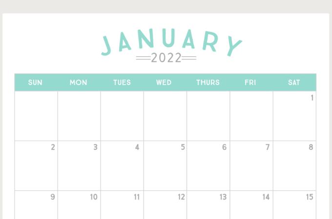 Free Printable 2022 Calendar